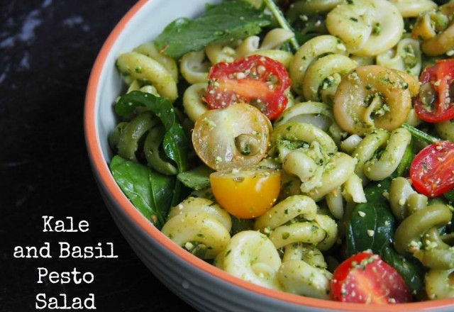 Meatless Monday – Kale and Basil Pesto Pasta Salad