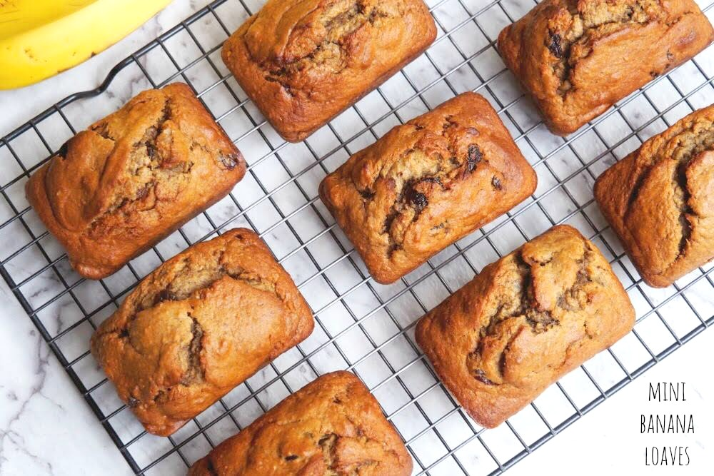 Raisin and Walnut Mini Banana Loaves