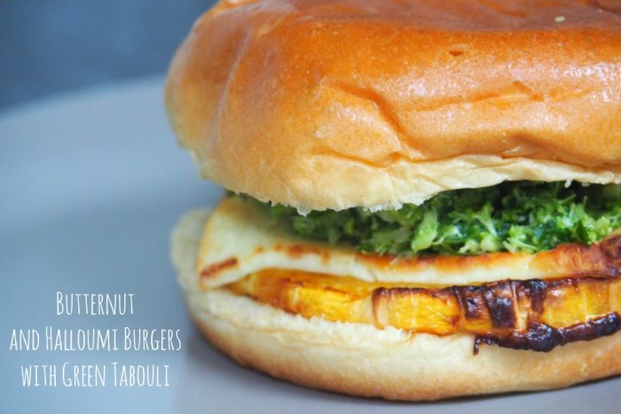 Butternut and Halloumi Burgers with Green Tabouli