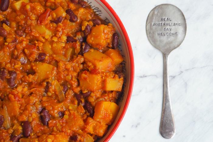 Squash, lentil and bean one pot