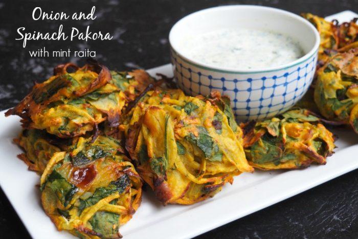 Spinach and Onion pakora with mint raita