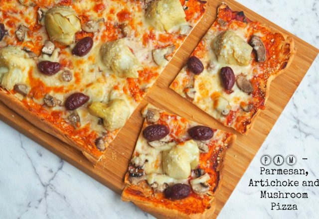 Meatless Monday – the PAM Pizza (Parmesan, Artichoke and Mushroom)