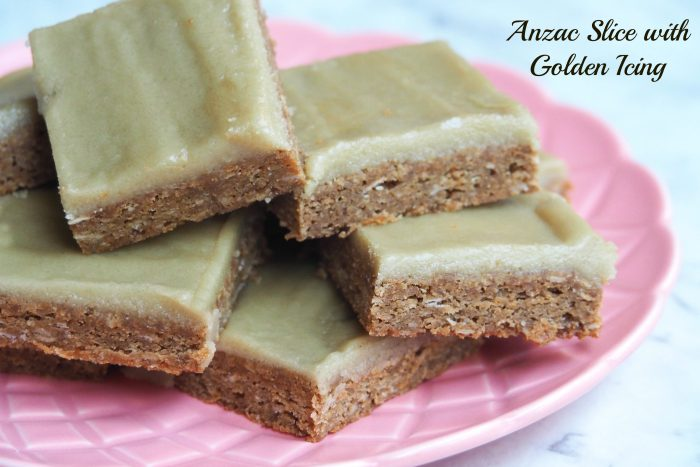 Anzac slice with golden icing