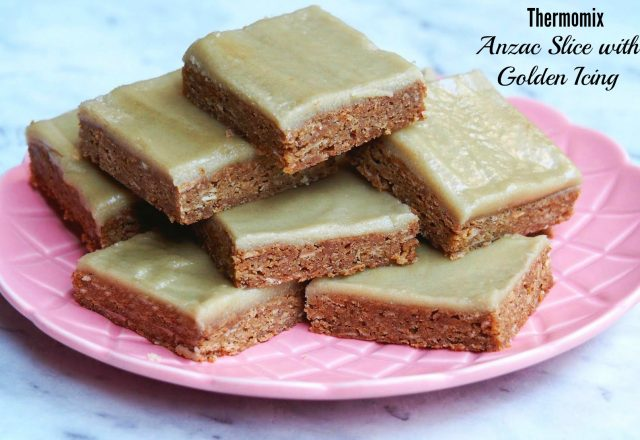 Thermomix ANZAC Slice with Golden Icing