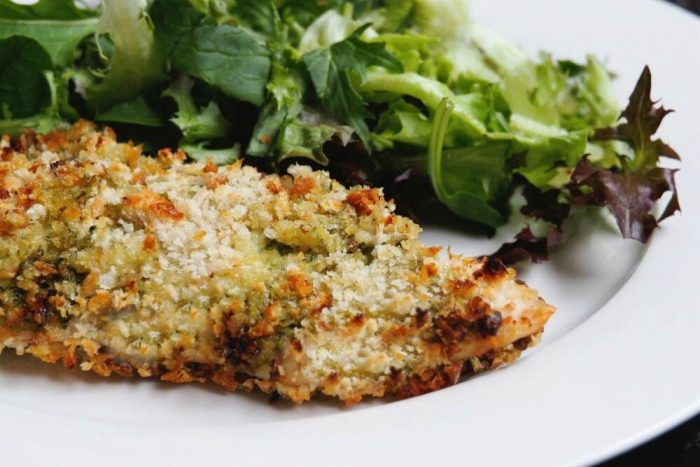 Crispy Crumbed Pesto Chicken