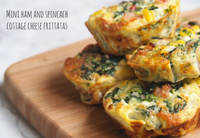 Mini Ham and Spinach Cottage Cheese Frittatas