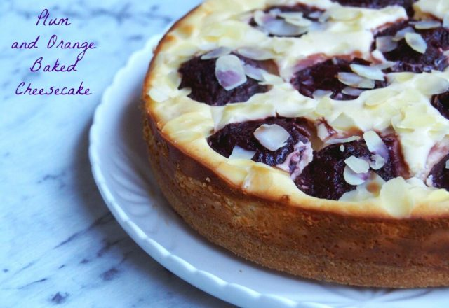 Plum and Orange Baked Cheesecake