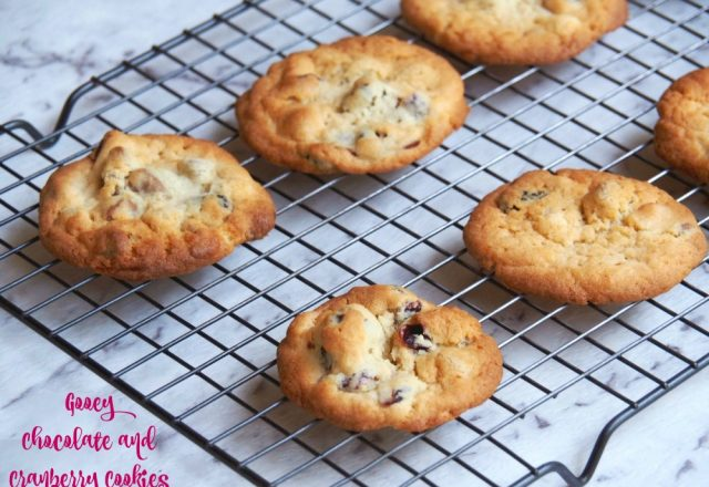 Gooey Chocolate  and Cranberry Cookies