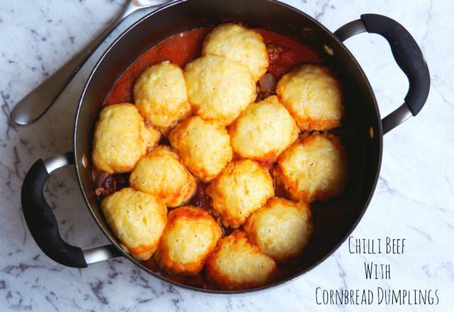 Chilli Beef with Cornbread Dumplings
