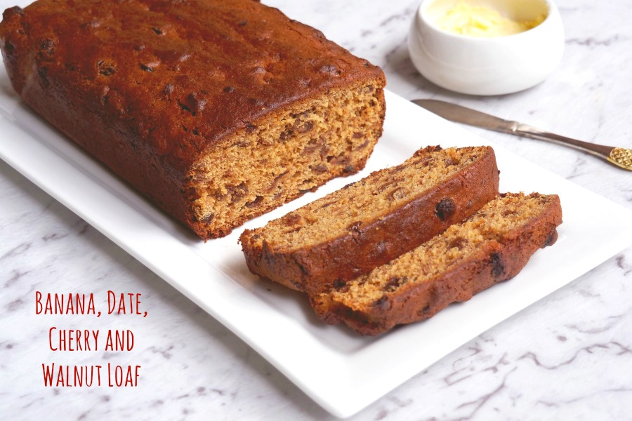 Banana, date, cherry and walnut loaf 1