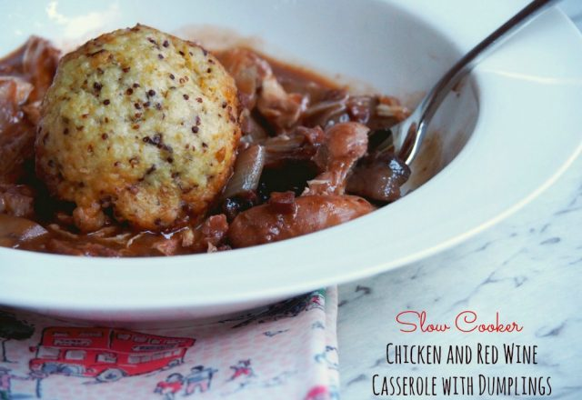 Slow Cooker Chicken and Red Wine Casserole with Dumplings