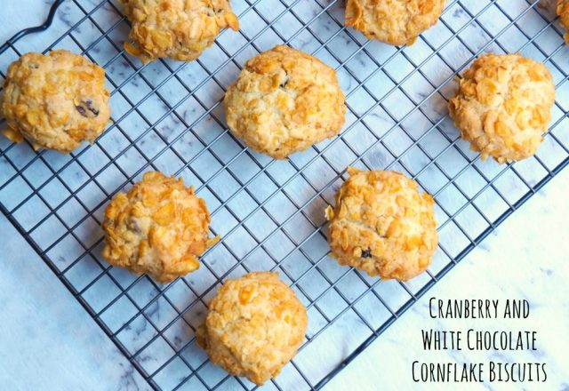 Cranberry and White Chocolate Cornflake Biscuits