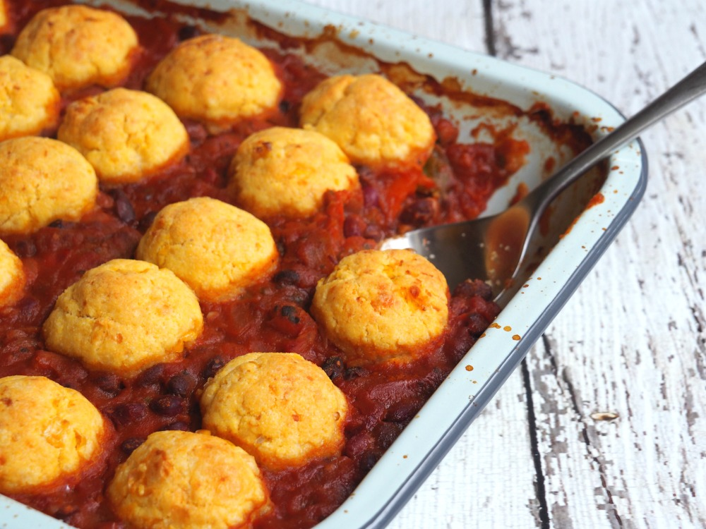 Four bean chilli with cornbread dumplings 8