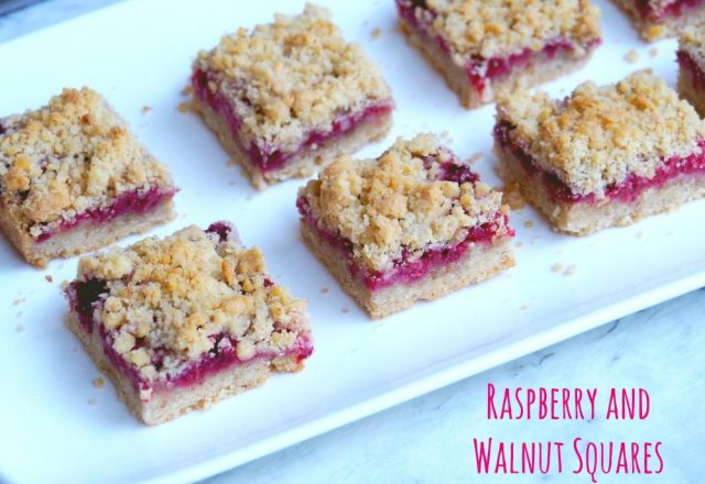 Raspberry and Walnut Crumble Slice