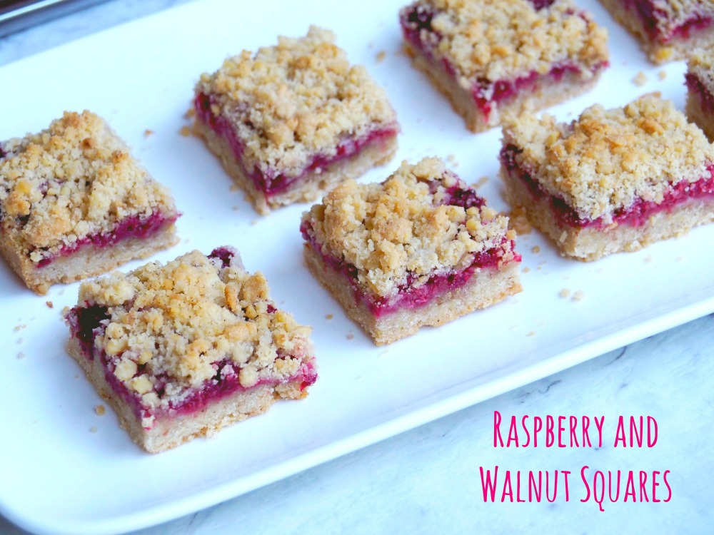 Raspberry and Walnut Squares