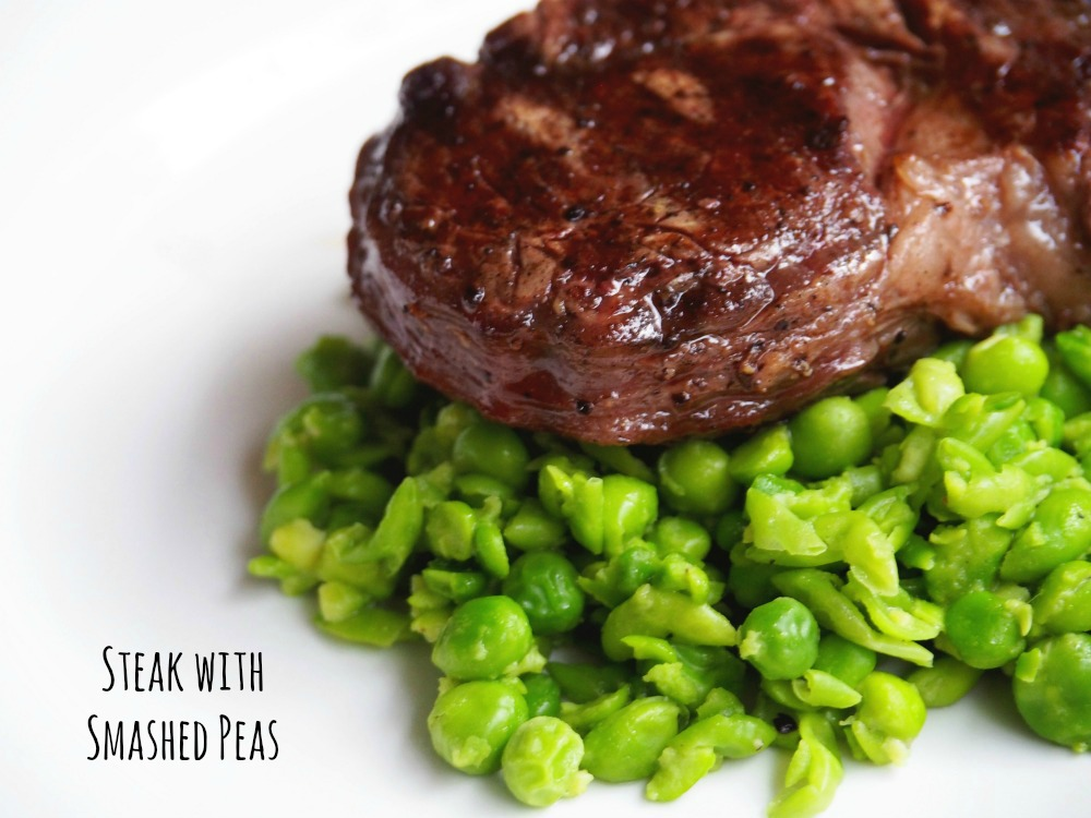 Steak with smashed peas