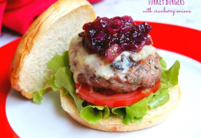 Turkey Burgers with Cranberry Onions
