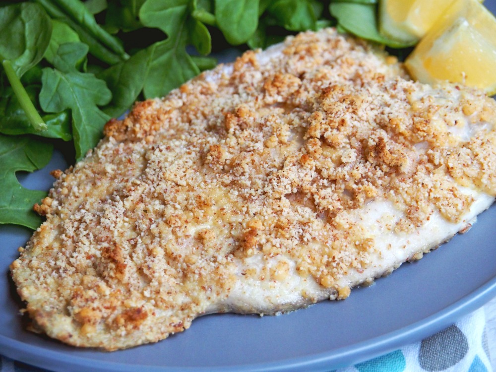 oven baked almond crumbed fish