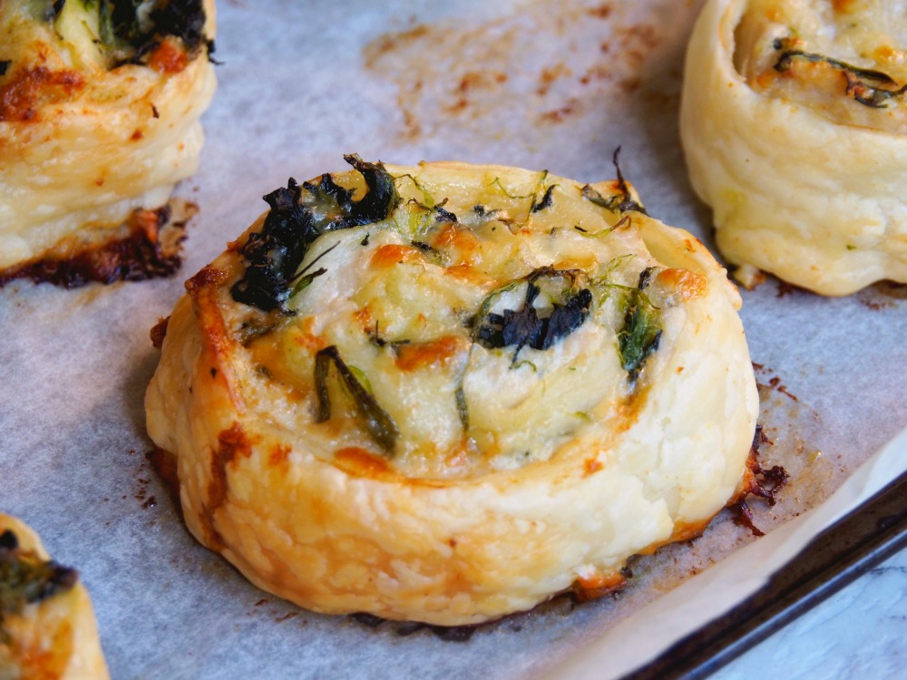 Cheesy Chicken Mustard and Spinach Scrolls
