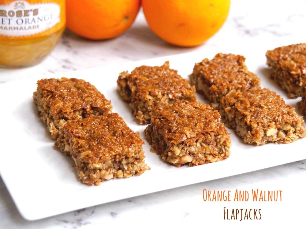 Orange and walnut flapjacks