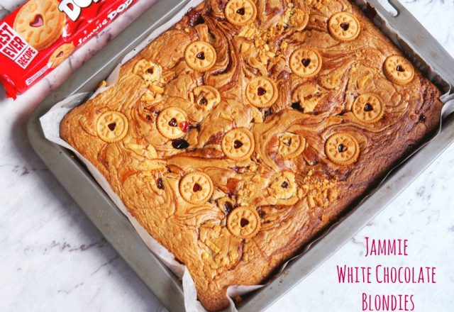 Jammy White Chocolate Blondies