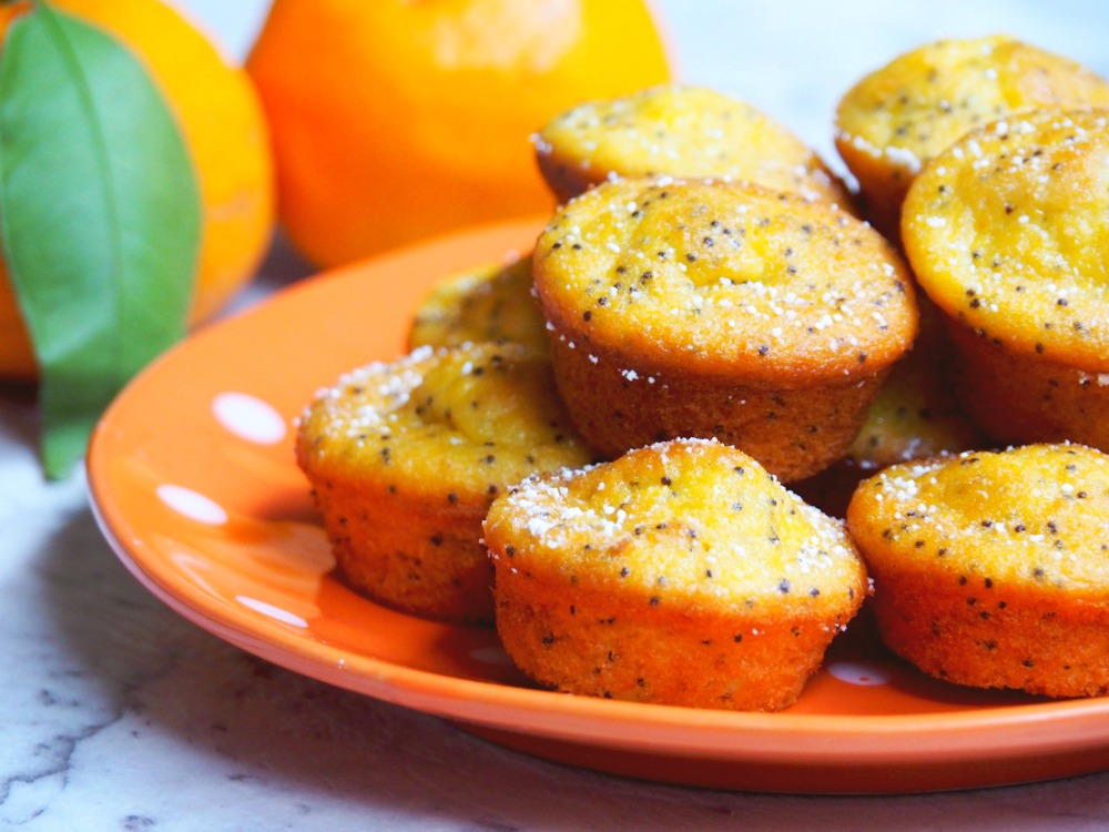 mini mandarin and poppy seed muffins