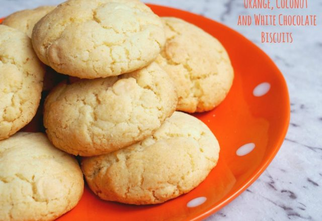 Orange, Coconut and White Chocolate Biscuits
