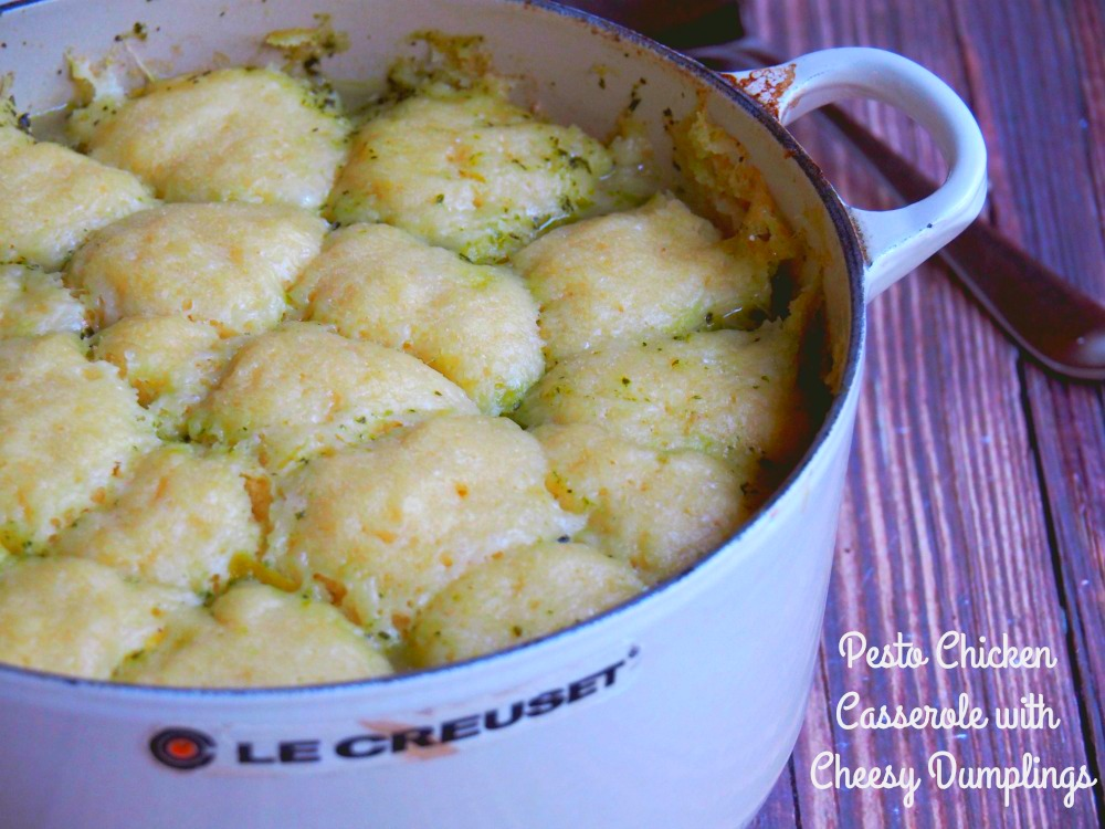 pesto chicken casserole with cheesy dumplings