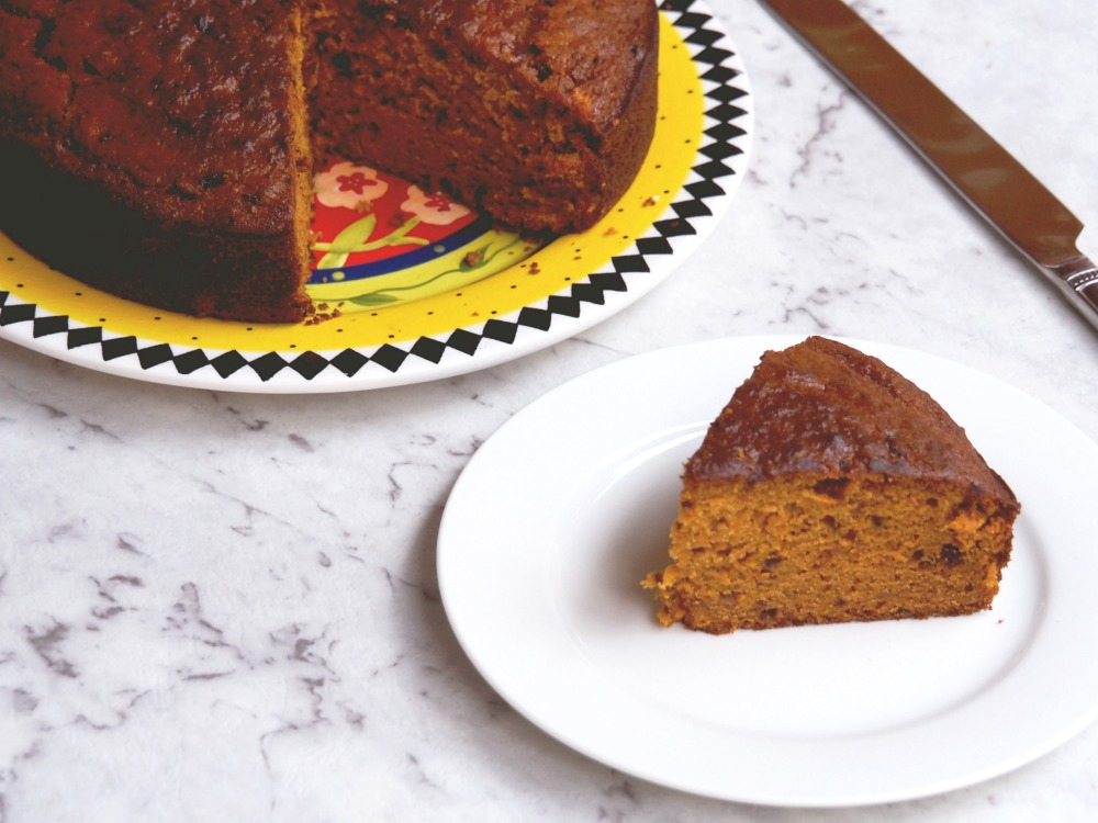 pumpkin and date cake cut