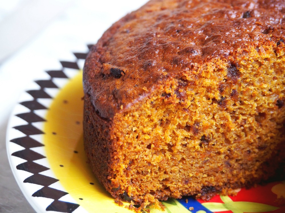 pumpkin and date cake inside