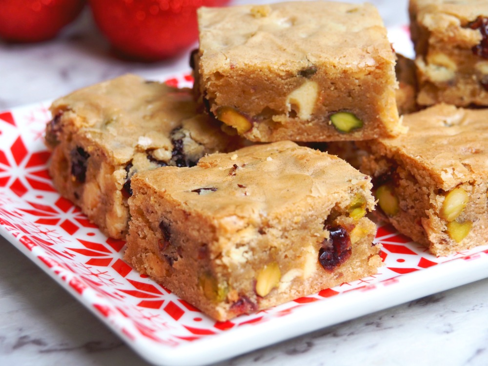 cranberry white chocolate pistachio blondies 3