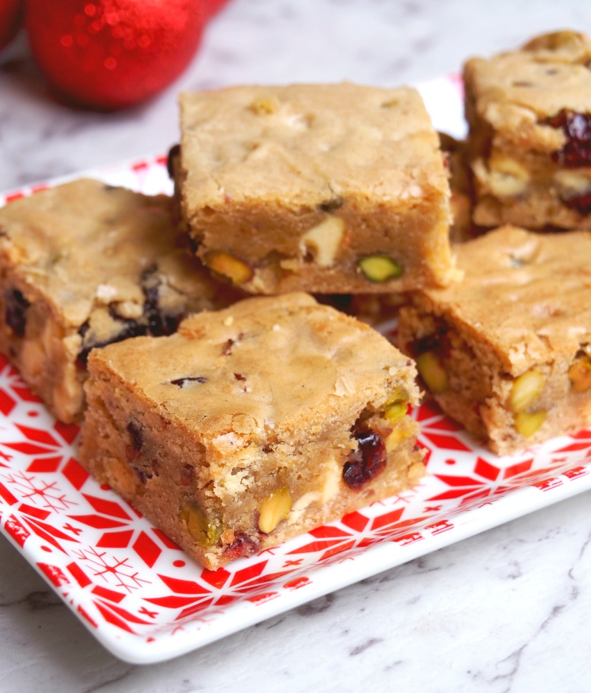 cranberry white chocolate pistachio blondies 5