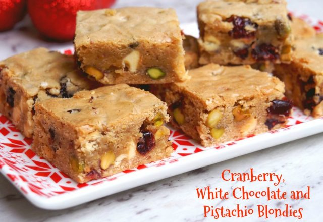 Cranberry, White Chocolate and Pistachio Blondies