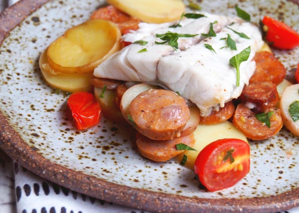 slow cooker chorizo barramundi one pot