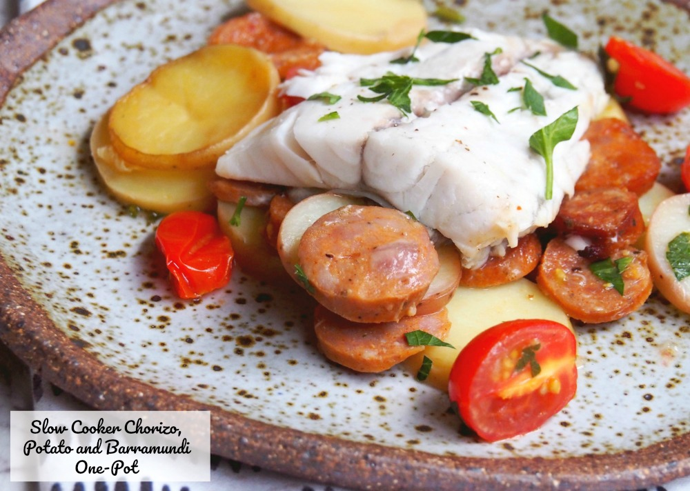 slow cooker chorizo potato barramundi one pot