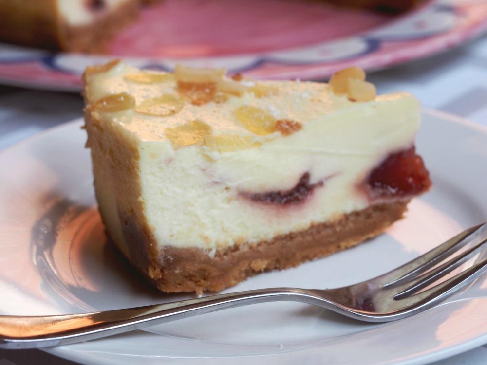 baked bakewell cheesecake slice