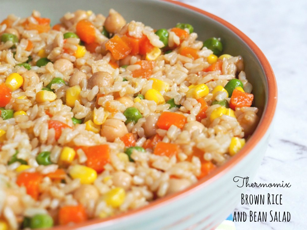 Thermomix brown rice bean salad title
