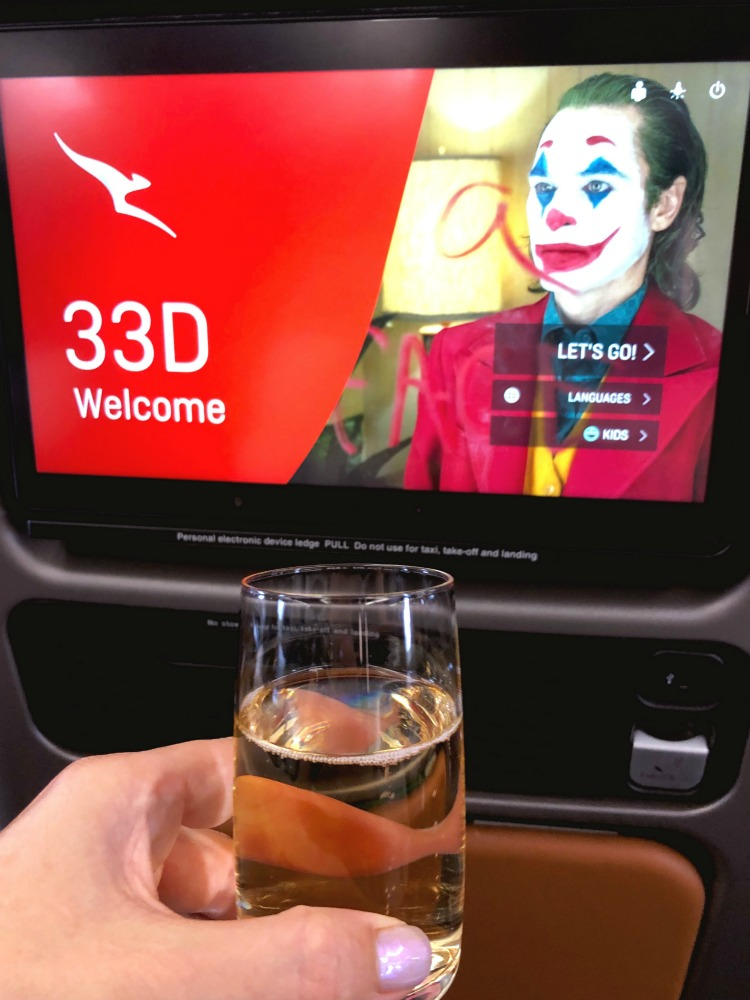 Qantas Premium Economy screen and drink