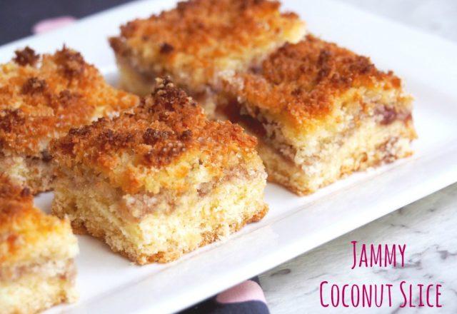 Jammy Coconut Slice