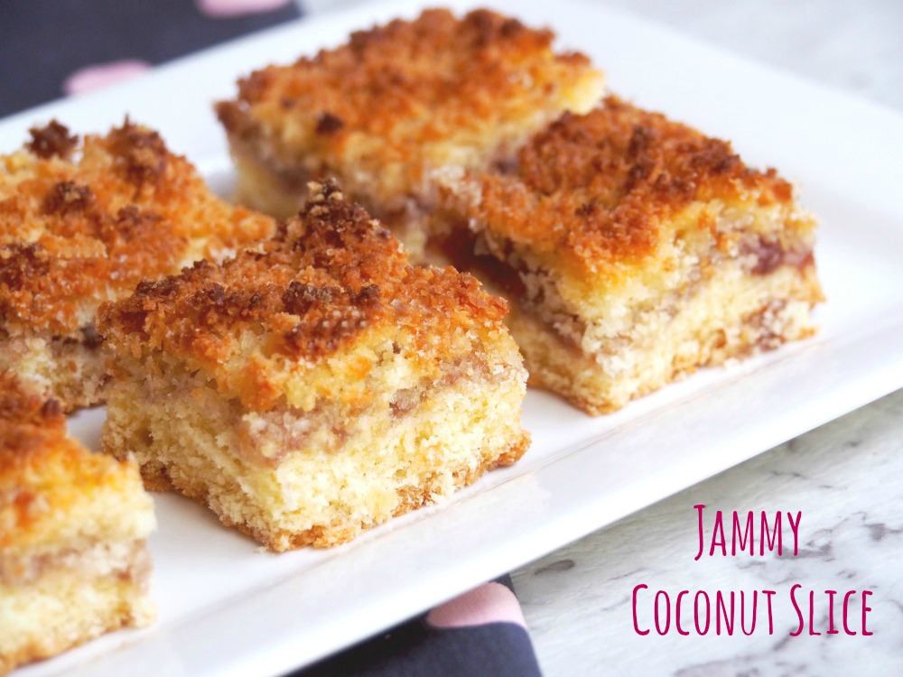Jammy Coconut Slice Title