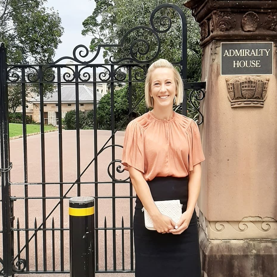 Lisa Greissl outside Admiralty House