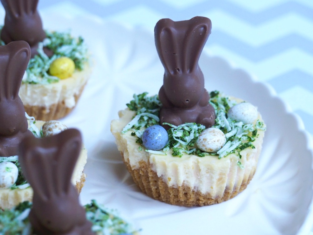 mini easter bunny malteser cheesecakes close up