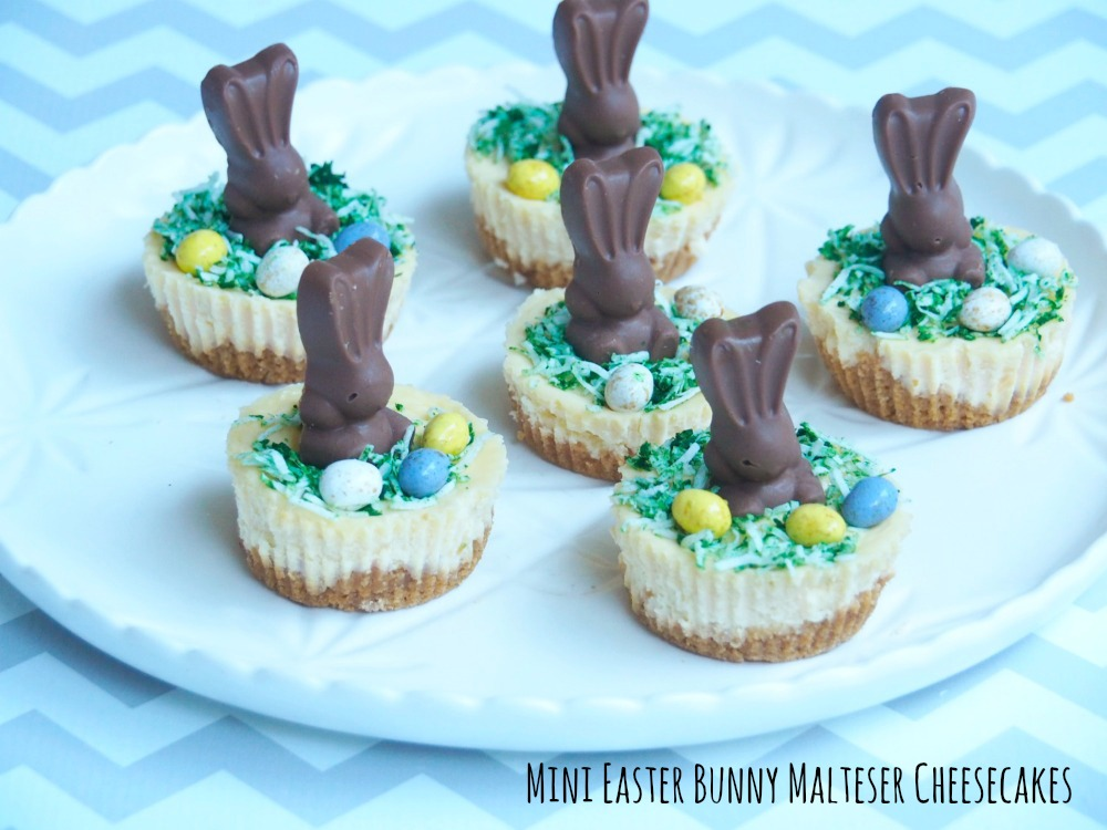 mini easter bunny malteser cheesecakes title