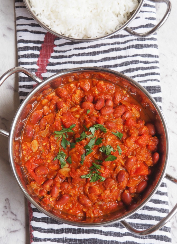 Kidney bean curry and rice