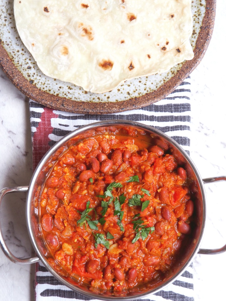 Kidney bean curry and roti