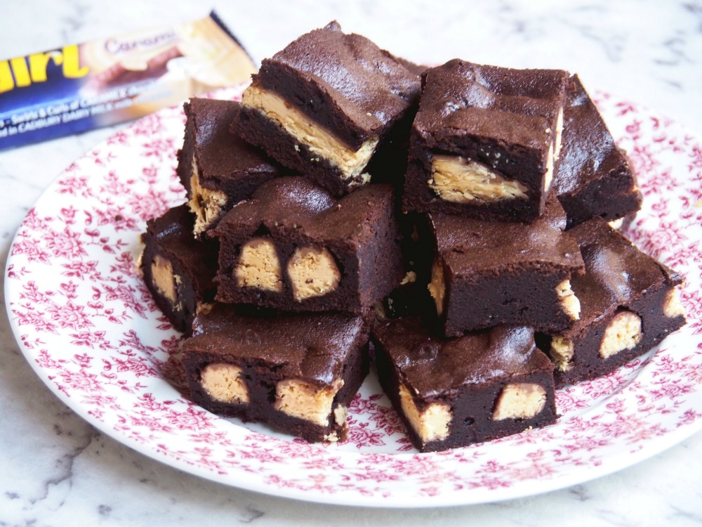 Caramilk Twirl Brownies on a plate