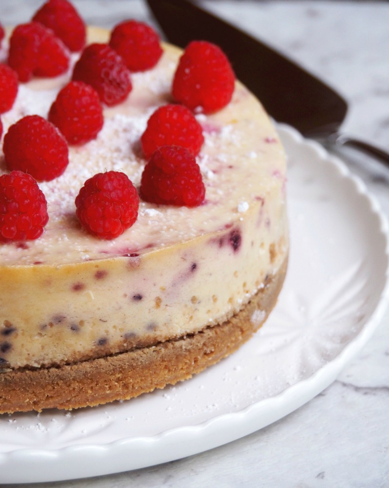 baked lemon and raspberry cheesecake side view