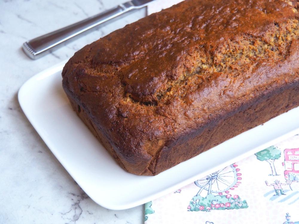 loaf of orange date banana bread