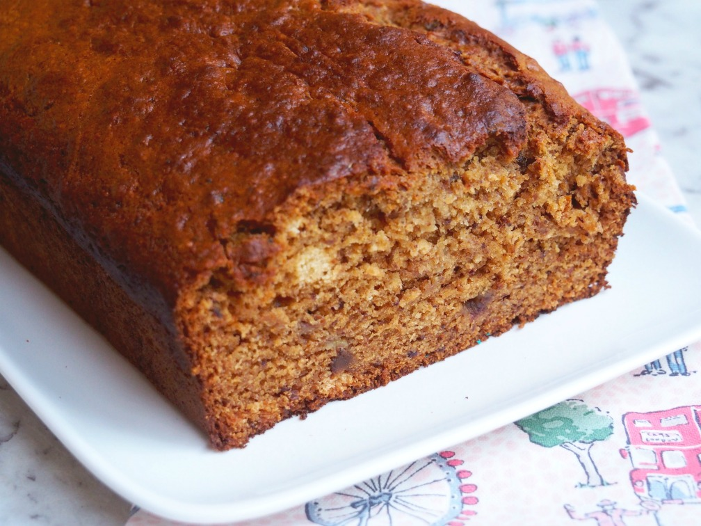 slices of orange date banana bread cut