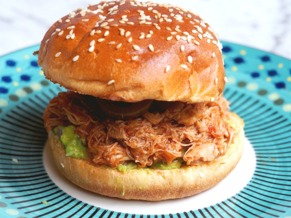 slow cooker pulled chicken in a bun